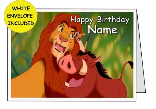 LION KING PERSONALISED INSIDE OUTSIDE HANDMADE CARD BIRTHDAY ANNIVERSARY OPEN