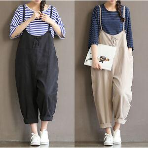 79a03e0b78f VTG Casual Loose Cotton Linen Jumpsuit Strap Dungaree Harem Trousers ...