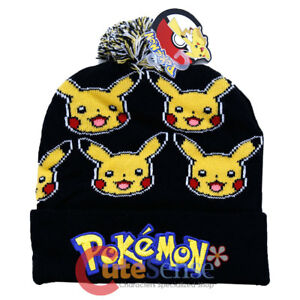 Image is loading Pokemon-Pikachu-Beanie-Hat-Furry-Ball-Winter-Hat c21e63e3262c