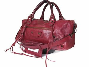 Auth-BALENCIAGA-The-City-Leather-Red-Hand-Bag-Shoulder-Bag-BH0004