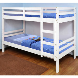Wooden Bunk Bed Durham White With 2 Size And 4 Mattress Options Ebay