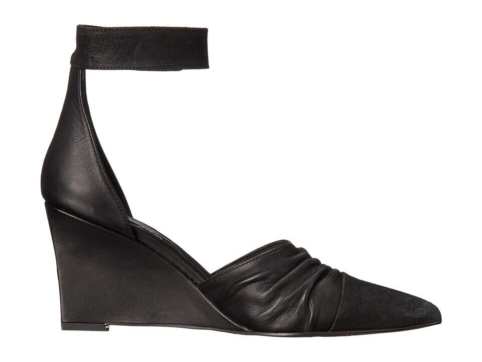 Free People nero Leather Leather Leather Heels Dimensione 39 9 Shadow Dancer donna Ankle Strap Wedge 29bfbe