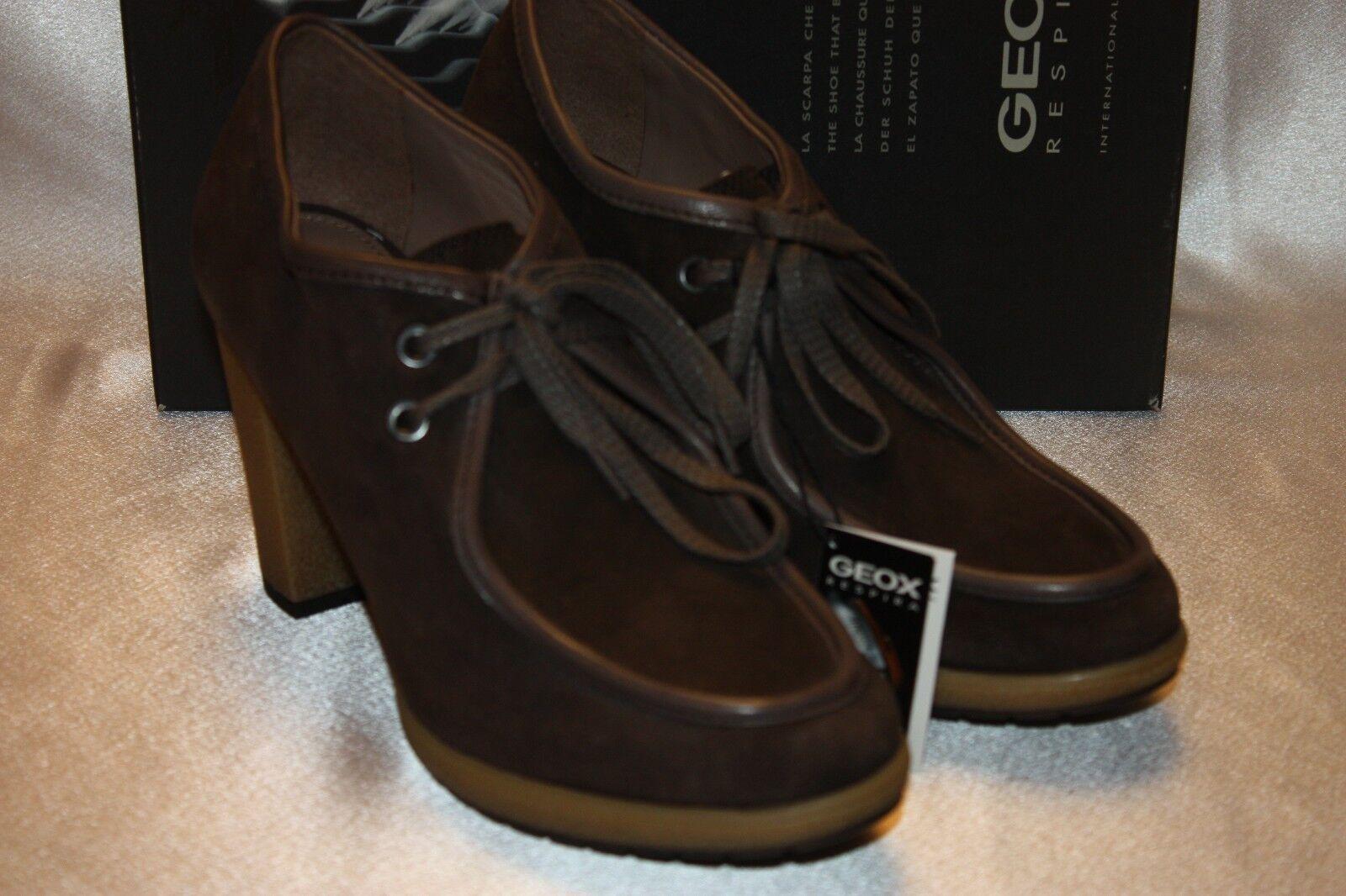 NEU NIB GEOX Coffee Braun Suede Damens KARMA Lace Up Ankle Stiefel Bootie 9.5 170