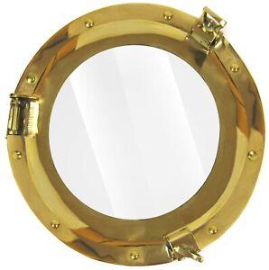 "11"" Brass Porthole Window Glass Antique Nautical Boat Port Photo Frame Wall Deco"