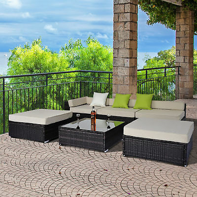 Deluxe Garden Patio Rattan Home Furniture Wicker Conservatory Corner Sofa Set