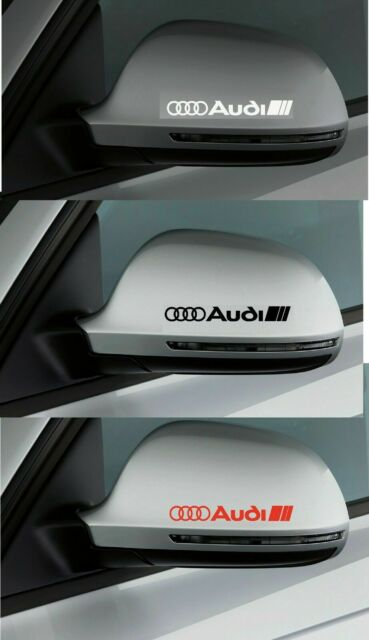 For AUDI 2 x Wing Mirror DECALS STICKERS ADHESIVES Fits all Models 100mm x 15mm