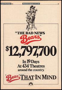 THE-BAD-NEWS-BEARS-Orig-1976-Trade-AD-poster-TATUM-O-039-NEAL-WALTER-MATTHAU