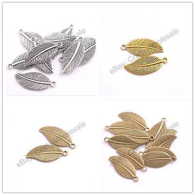 Silver Leaf Shape Tibetan Silver Charms Pendant Jewelry Findings 27.5X12MM E3144
