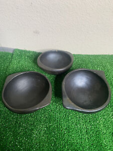 lot of 3 wooden hand carved bowls