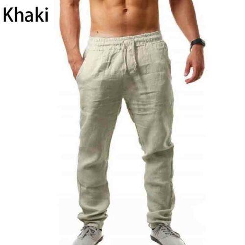 Mens Summer Casual Cotton Linen Elasticated Loose Drawstring Yoga Pants Trousers