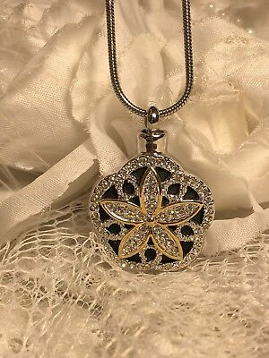 GOLD SILVER FLOWER STAINLESS Cremation URN W//FUNNEL Necklace Ash JEWELRY HEART