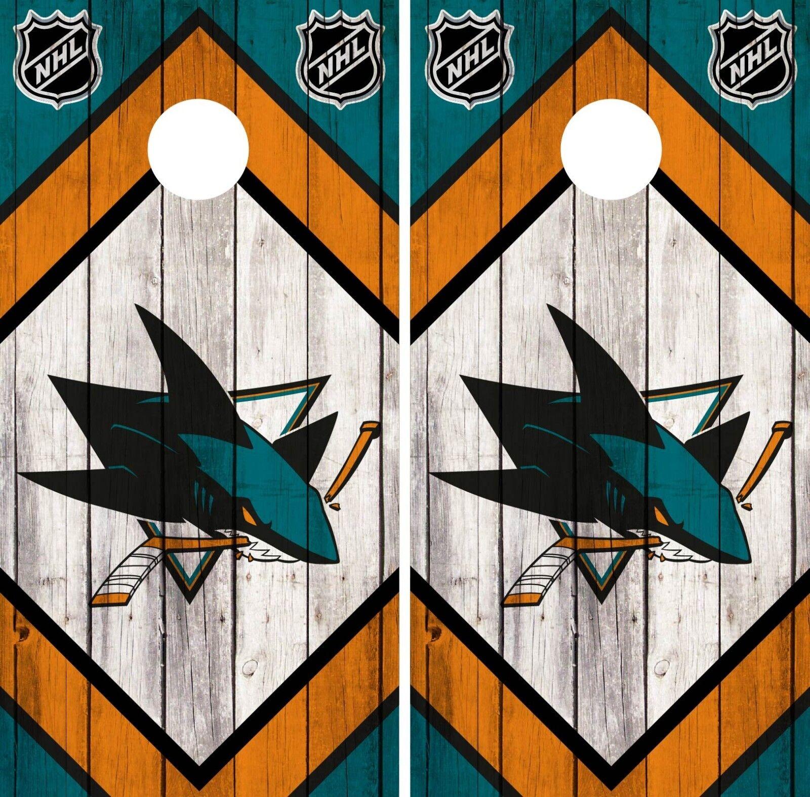 San Jose Sharks Cornhole Wrap NHL  Team Flag Game Skin Set Vinyl Decal CO208  best service
