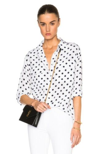 New Arrival Equipment Slim Signature Silk Shirt  White With Polka Dot