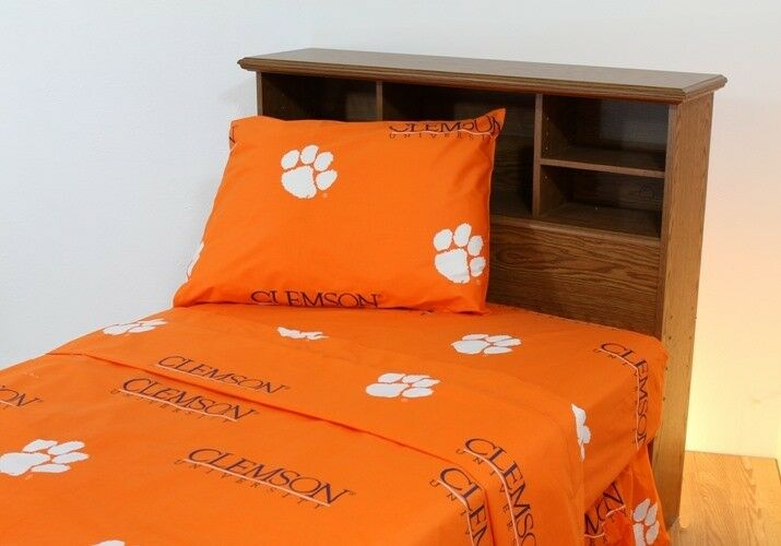 College Covers CLESSTW Clemson Printed Sheet Set Twin- Solid
