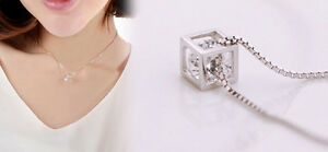 Lady-Women-Silver-plated-Chain-Crystal-Rhinestone-Square-Pendant-Necklace-Shine