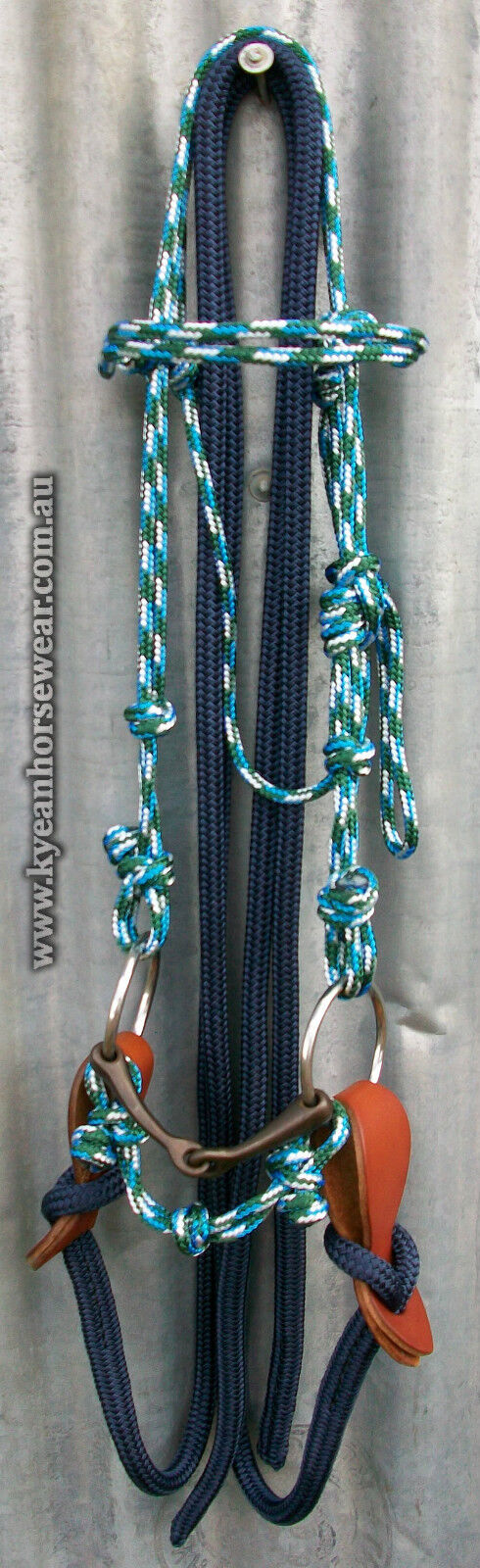 COMPLETE ROPE BRIDLE STRAP and REINS,BIT,CHIN STRAP BRIDLE - Professionally Made - 51225d