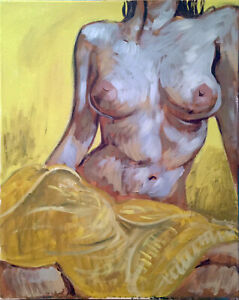 Nude-Female-Figure-Impressionist-Original-Acrylic-Painting-16-034-x20-034-Signed
