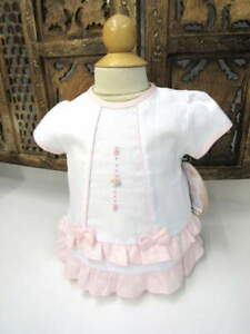 NWT-Will-039-beth-Infant-Baby-Girl-Dress-Set-White-Pink-Ruffles-Bows-3m