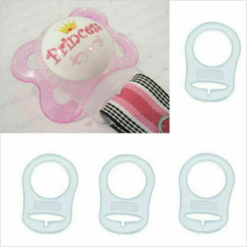 2//5//10pcs Transparent Silicone MAM Ring Button Style Dummy Pacifier Clip Adapter