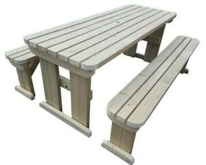 Brilliant Details About Wooden Picnic Table And Bench Set Outdoor Garden Furniture Aspen Rounded Pabps2019 Chair Design Images Pabps2019Com