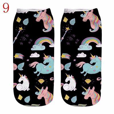 Hot 3D Unicorn Print Men Women Casual Low Cut Socks Cotton Animals Pattern Socks