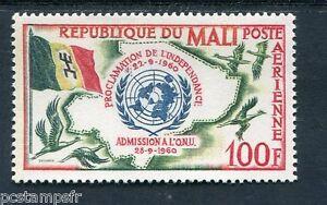 100% Vrai Mali, 1961, Timbre Aérien 11, Admission Aux Nations Unies, Neuf** Prix ModéRé