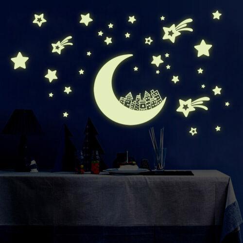 Child Room Decor Fluorescent Green Wall Sticker Moon Star House Glow In Dark New