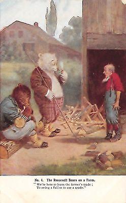 "# 3907k Roosevelt Bears Postcard, "" On The Farm "" # 4"