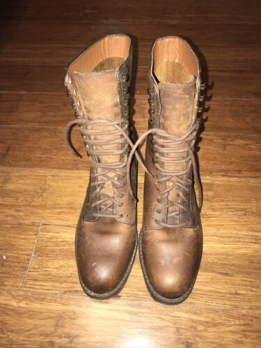 Nine West Brown Ankle Boots Lace Up US6.5