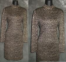 BEAUTIFUL St John evening animal print beige black brown knit dress sz 6