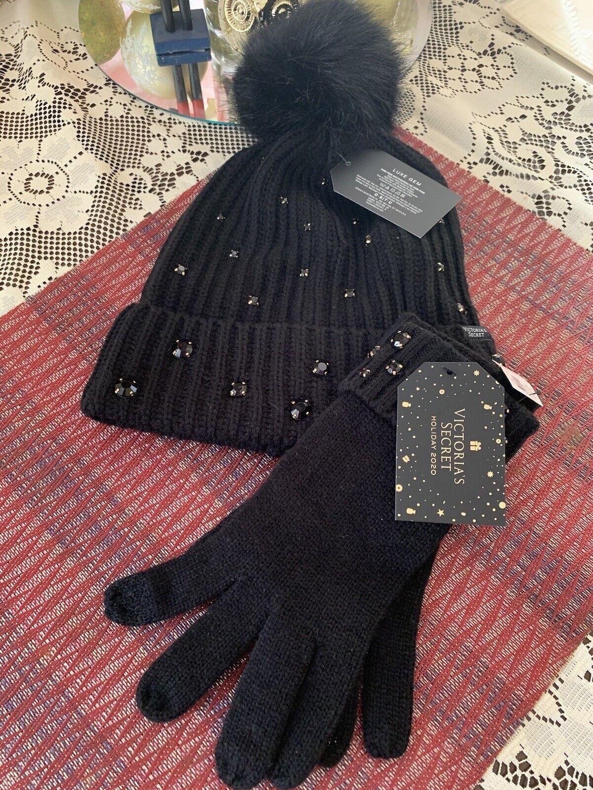 New Victoria Secret Pom-Pom Hat & Glove Set Black Luxe Gem Pom Pom VS