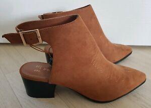 mejor valor apariencia estética venta más barata Details about PRIMARK size 8 tan SLINGBACK BOOTS summer COWBOY block heel  pointed toe