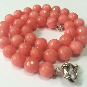 Natural10mm-Pink-Morganit-faceted-round-bead-Gemstone-necklace18-039-039