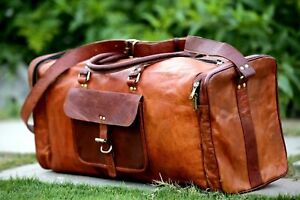 Genuine-Indian-Leather-Duffle-Weekend-Overnight-Travel-Gym-Bag-Holdall-Luggage