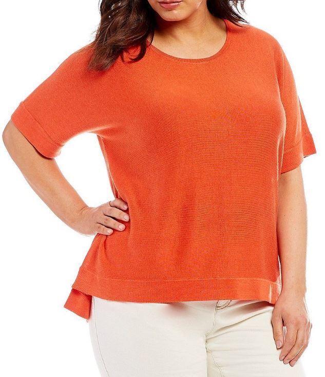 Eileen Fisher Hot rot Elbow Sleeves Tencel Silk Top Sweater XL