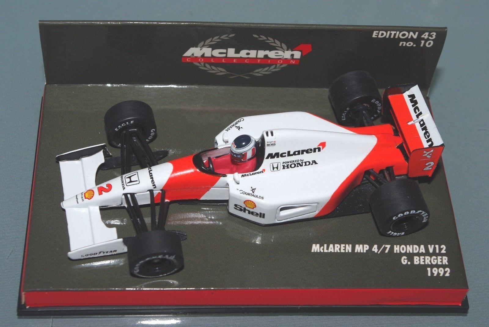Minichamps F1 1 43 MCLAREN MP4 7 Honda V12 Gerhard BERGER 1992