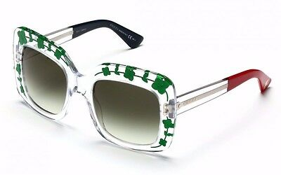 NEW $450 Auth Gucci Oversized Square Floral Bee Sunglasses GG 3863/S 900N7  Green