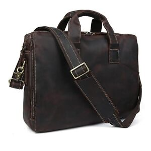 1550b91854 Image is loading TIDING-Vintage-Style-Crazy-Horse-Leather-Mens-Briefcase-