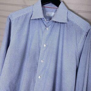 ETON-York-Contemporary-Fit-L-S-Dress-Shirt-100-Cotton-Check-Men-s-44-17-5-XL