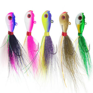3D-Eyes-Bucktail-Jigs-Lead-Teaser-Jigging-Lure-Saltwater-Fishing-Lures-5-Colors