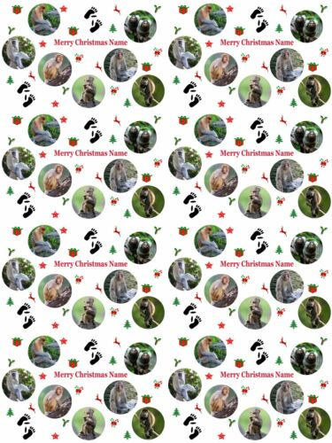 Monkeys Personalised Christmas Gift Wrapping Paper 4 Designs ADD NAME