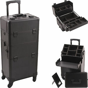 New In Pro Aluminum Rolling Makeup Case Salon Cosmetic - Aluminum trolley case pro rolling makeup cosmetic organizer
