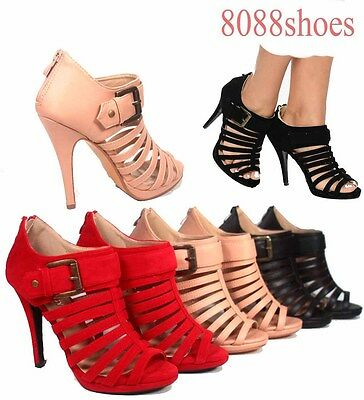 Women's Sexy Peep Toe Strappy Buckle Stiletto Heel Pump Sandal Booties Size 5-10