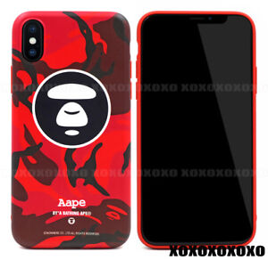 best sneakers 9d17a b14a2 Details about AAPE by A Bathing Ape Bape Red Camo Soft Phone Case For  iPhone X 8 7 Plus 6 6S