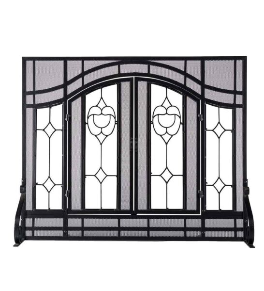 Plow Amp Hearth Floral Large Fireplace Screen With Doors