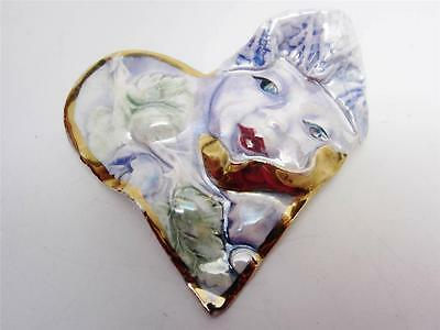 Artist Handcrafted Porcelain Heart Brooch Pin Figural Ladies Face Valentine OOAK