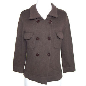 MALIKA-Brown-100-Cashmere-Double-Breasted-Collared-Cardigan-Sweater-Medium-3969
