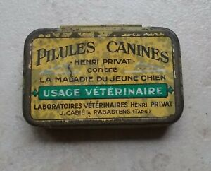 Ancienne-petite-Boite-Collection-Metal-Pilules-Canines-H-Privat-Veterinaire