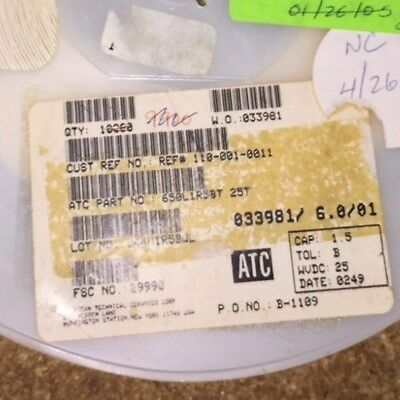ATC100A1R5BP150X 1.5pf 150V 0.1pf /% PORCELAIN SUPERCHIP ATC 100A 10 QTY