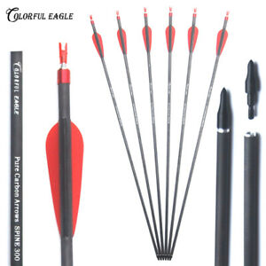 """28/""""//30/""""//31/"""" Carbon Arrows Hunting Archery Spine300 400 For Compound//Recurve Bow"""